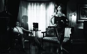 Картинка ретро, комната, мебель, черно-белая, интерьер, картина, актриса