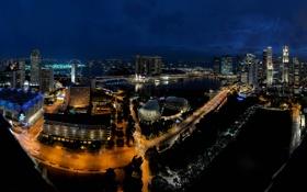 Картинка ночь, огни, Сингапур, отель, Marina Bay