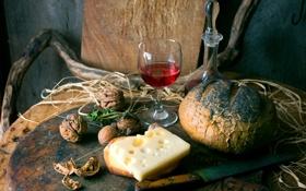 Обои вино, красное, бокал, сыр, хлеб, орехи