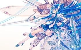 Картинка девушка, оружие, меч, аниме, арт, кристаллы, тиара