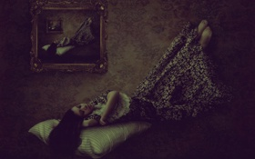 Картинка девушка, dream, сон, картина, арт