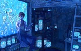 Картинка комната, арт, медузы, парень, лаборатория, под водой, conco