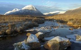 Картинка снег, горы, река, камни