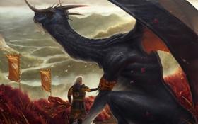 Картинка ветер, дракон, человек, лепестки, шарф, арт, рога