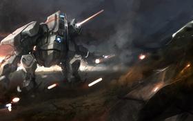 Обои машина, робот, арт, стрельба, меха