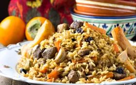 Обои мясо, рис, чеснок, хурма, плов