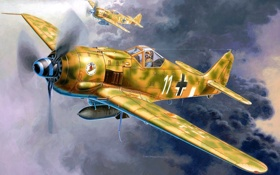 Обои небо, рисунок, арт, истребители, пара, самолёты, WW2