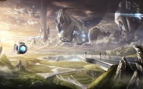 Обои люди, скалы, дороги, планета, корабли, сооружение, станция