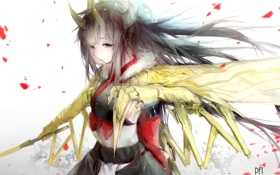 Картинка девушка, оружие, монстр, аниме, арт, рога, pixiv fantasia