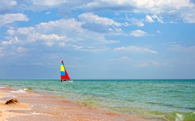 Обои summer, sail boat, море, парусник, sea, пляж, берег