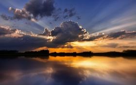 Обои небо, лучи, свет, озеро, облако, туча