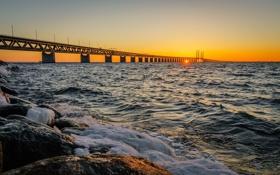 Картинка закат, Швеция, Sweden, Bunkeflostrand, Oresund Strait, Oresund Bridge, пролив Эресунн