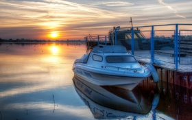 Картинка пейзаж, закат, озеро, лодка