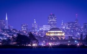 Обои ночь, огни, дома, Сан-Франциско, США