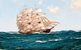 Обои море, волны, парусник, Montague Dawson