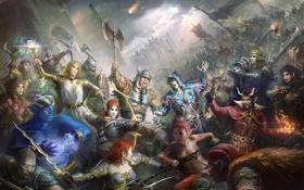 Картинка оружие, замок, огонь, магия, арт, битва