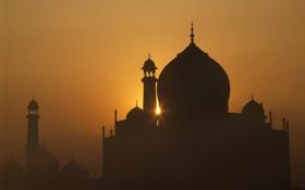 Обои закат, Индия, Тадж-Махал, силуэт, мечеть, мавзолей, минарет