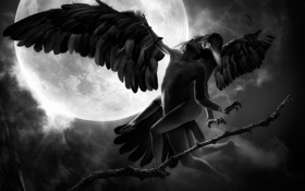 Обои девушка, ночь, фантазия, луна, крылья, арт, полёт