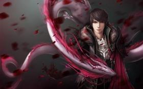 Обои парень, spirit, dragon, petals