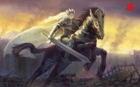 Обои всадница, воин, арт, меч, девушка, конь