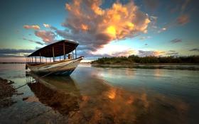 Картинка небо, закат, отражение, лодка, Бразилия, облачно, Баия