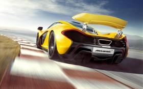 Обои Concept, желтый, фон, McLaren, концепт, суперкар, спойлер