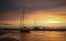 Картинка пляж, рассвет, отлив, парусники, Meols beach
