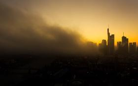 Картинка облака, Германия, горизонт, силуэт, сумерки, Франкфурт