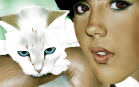 Обои кошка, взгляд, девушка, животное, пирсинг, арт, губы