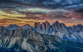 Обои горный хребет, пейзаж, природа, снег, горы, расвет