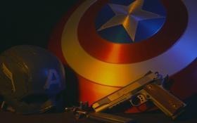 Обои шлем, щит, captain america, 1911, smith & wesson, полуавтоматический пистолет