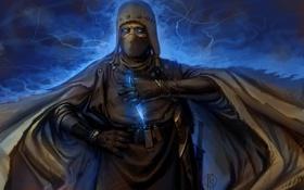 Картинка глаза, оружие, магия, молнии, человек, арт, нож
