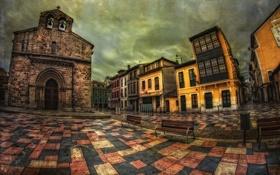 Картинка город, плитка, здания, площадь, храм, часовня, лавочки