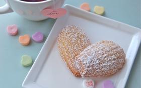 Картинка любовь, чай, сердце, печенье, сладости, love, выпечка
