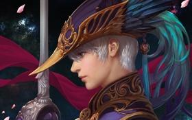 Картинка крупный план, меч, перья, лепестки, Парень, блондин, головной убор