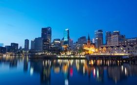 Картинка ночь, город, пристань, Sydney