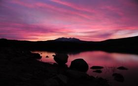 Обои розовый, камни, закат, отражение, вода, озеро, расвет