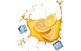 Картинка лед, вода, брызги, лимон, белый фон, ice, water