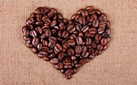 Картинка креатив, сердце, кофейные зёрна