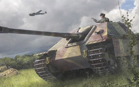 Картинка поле, рисунок, арт, Jagdpanther, самоходно-артиллерийская установка, истребителей танков, (САУ)