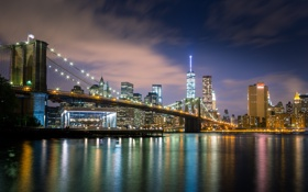 Обои город, река, ночь, мост, New York, огни