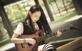Картинка азиатка, музыка, девушка, гитара