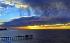 Картинка мост, небо, море