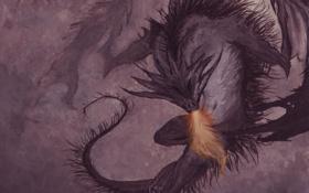 Обои тьма, дракон, рисунок, ужас