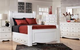 Обои дизайн, спальня, комната, интерьер, стиль