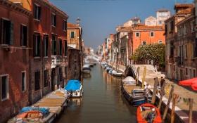 Обои Венеция, канал, лодки, люди, дома, hdr, Италия