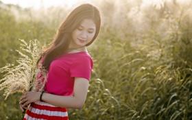 Картинка девушка, свет, азиатка