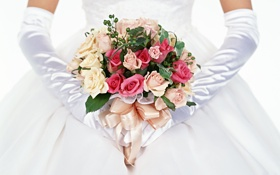 Обои розы, букет, перчатки, невеста