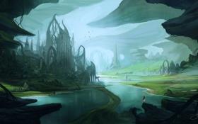 Картинка девушка, город, река, замок, фантастика, скалы, арт