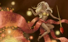 Картинка девушка, огоньки, посох, фонарики, кристал